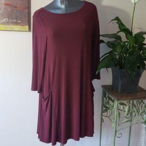 SIGRID OLSEN shifty swing dress w/ pockets wine